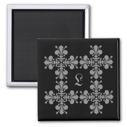 Gothic elegance fleur de lis damask monogram square magnet