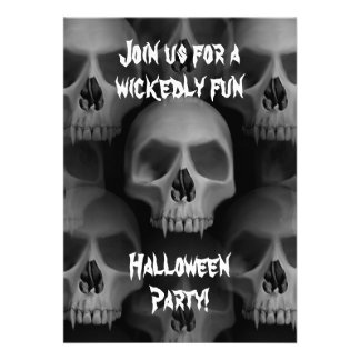 Gothic evil fanged skull Halloween horror party Cards
