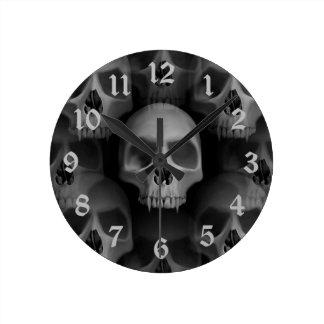 Gothic evil fanged skull Halloween horror Round Clock