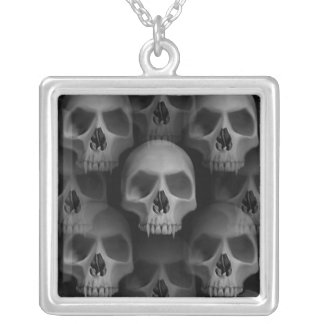 Gothic evil fanged skull Halloween horror Silver Plated Necklace
