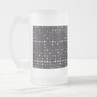 Gothic Faded Black Grunge Vintage Cross Pattern Frosted Glass Mug