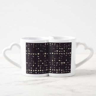 Gothic Faded Black Grunge Vintage Cross Pattern Couple Mugs