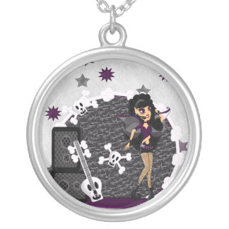 Gothic Faerie with Skull Guitar Silver Plated Necklace
