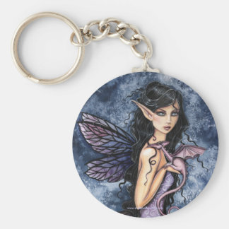 Gothic Fairy Dragon Art Keychain by Molly Harrison