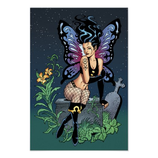 Gothic Fairy Grave Sitting with Tears by Al Rio Poster