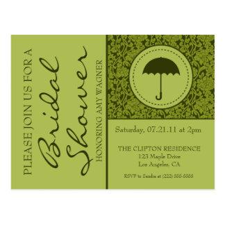 Gothic Fall Green Flourish Bridal Shower Post Card
