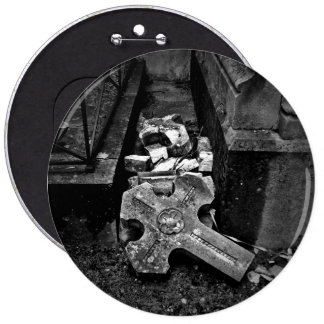 Gothic fallen cemetery cross 6 cm round badge