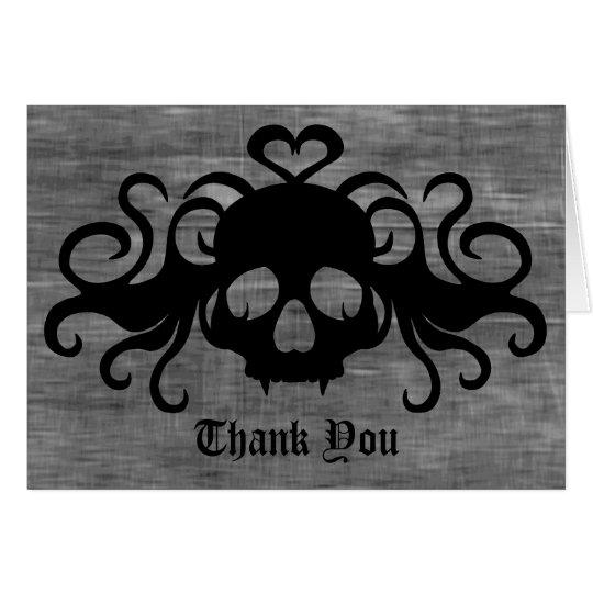 Gothic fanged vampire skull Thank You Card