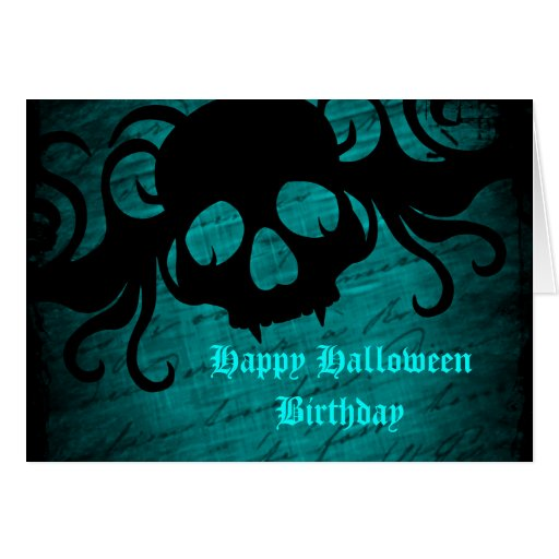 Gothic fantasy skull Halloween birthday Greeting Cards