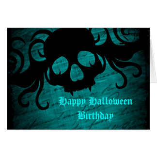 Gothic fantasy skull Halloween birthday Greeting Card