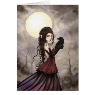 Gothic Fantasy Witch and Raven Wiccan Art Card