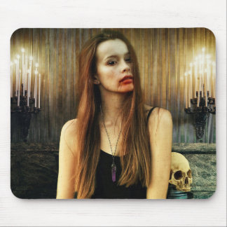 Gothic Female Vampire Bloody Face Mouse Pad