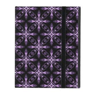 Gothic Floral Black and Purple Fractal Art iPad Folio Case