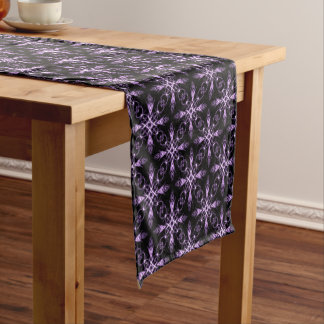 Gothic Floral Black and Purple Fractal Pattern Short Table Runner