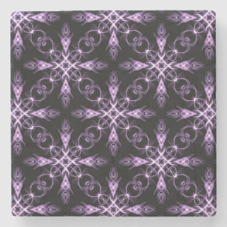 Gothic Floral Black and Purple Fractal Pattern Stone Coaster