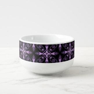 Gothic Floral Black and Purple Fractal Soup Mug