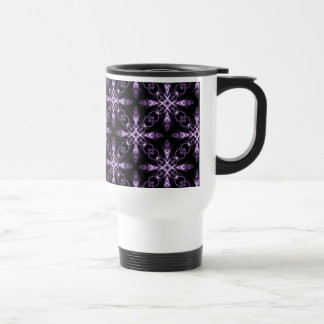 Gothic Floral Black and Purple Fractal Travel Mug