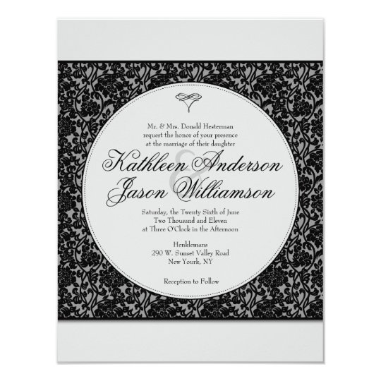 Gothic Floral Damask Monogram Wedding Invitation