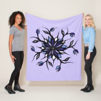 Gothic Floral Mandala Monsters And Teeth Fleece Blanket
