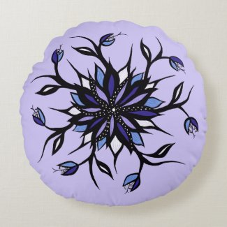 Gothic Floral Mandala Monsters And Teeth Round Cushion