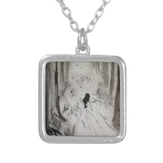 Gothic Forest Square Pendant Necklace