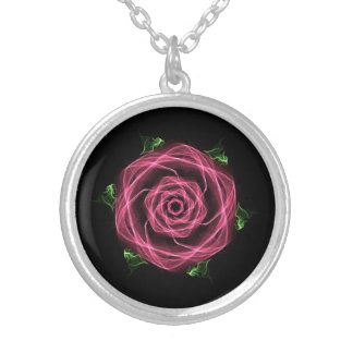 Gothic Fractal Rose Silver Plated Necklace