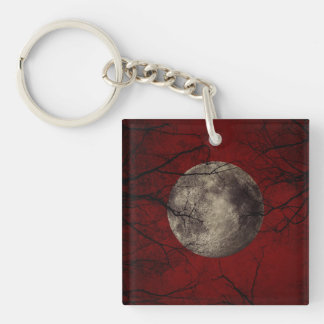 Gothic Full Moon with Haunting Trees Key Ring