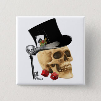 Gothic gambler skull tattoo design 15 cm square badge