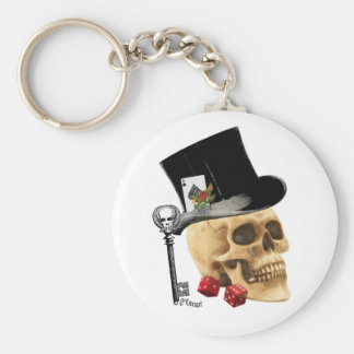 Gothic gambler skull tattoo design basic round button key ring