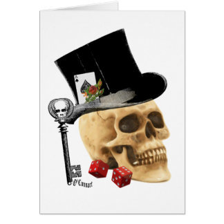 Gothic gambler skull tattoo design card