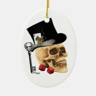 Gothic gambler skull tattoo design ceramic oval decoration