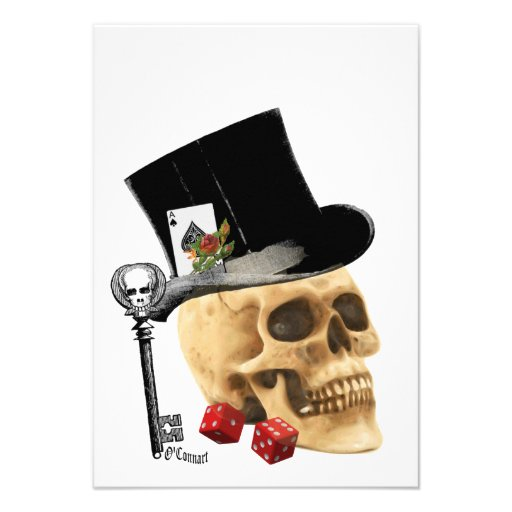 Gothic gambler skull tattoo design personalized invites