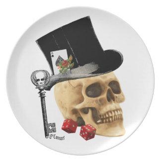Gothic gambler skull tattoo design plate
