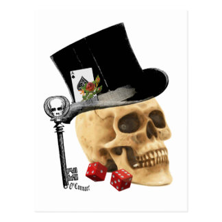 Gothic gambler skull tattoo design postcard