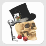 Gothic gambler skull tattoo design square stickers