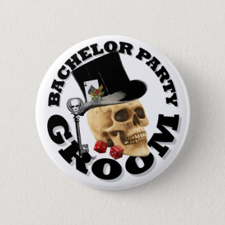 Gothic gambling grooms bachelor party 6 cm round badge
