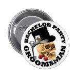 Gothic gambling skull bachelor party 6 cm round badge