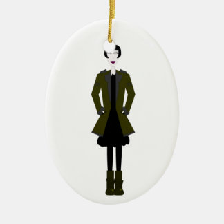 Gothic Girl Character Ceramic Oval Decoration