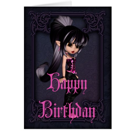 Gothic Girl Design 2 Happy Birthday Card