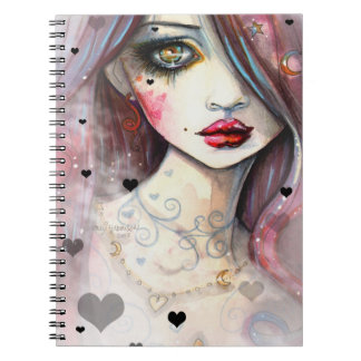 Gothic Girl With Hearts Art Notebook