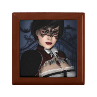Gothic Girl with Ruby Necklace Small Square Gift Box