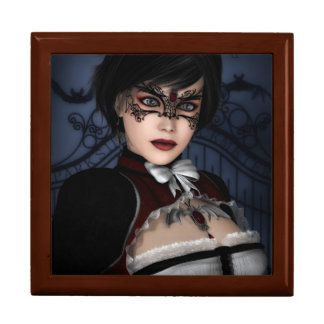 Gothic Girl with Ruby necklace Large Square Gift Box