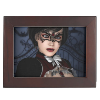 Gothic Girl with Ruby necklace Memory Boxes
