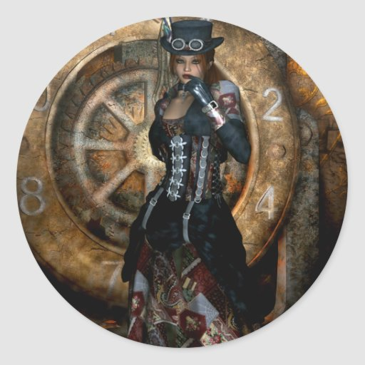 Gothic Girls Time To Spare Steampunk Round Stickers