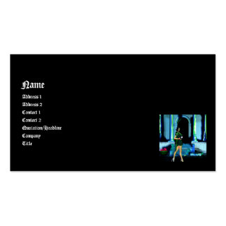 Gothic Girls Witch Fire 3D Pin-up Business Card Templates