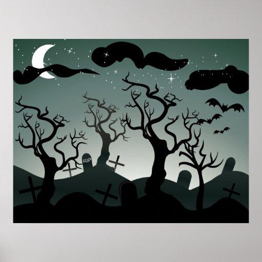 Gothic Graveyard graves trees Poster
