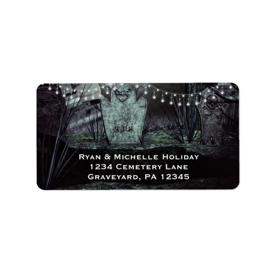 Gothic Graveyard with Enchanting Lights Address Label