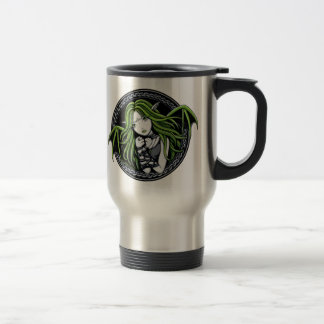 Gothic Green Bat Fairy Art Travel Mug