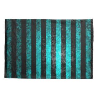 Gothic Grunge Blue & Black Stripes Pattern Pillowcase