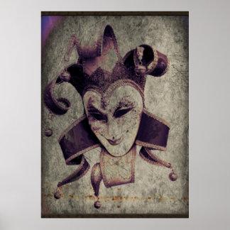 gothic grunge renaissance  joker vintage poster